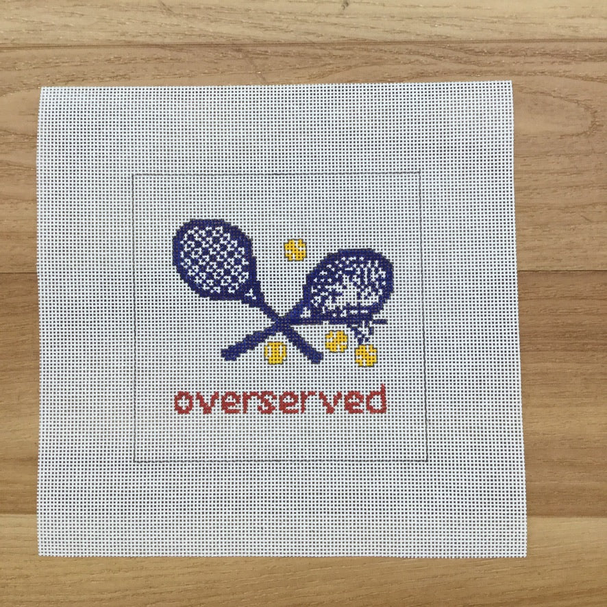 Overserved Blue Square Canvas - needlepoint