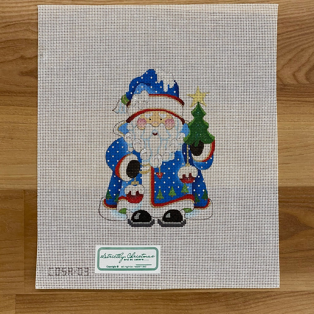 Tree and Ornaments Squatty Santa Canvas