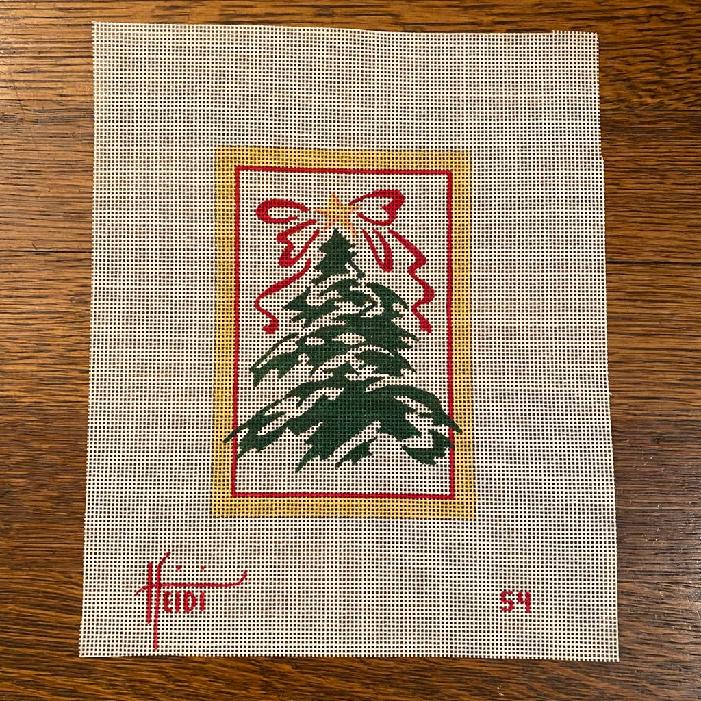 Tree with Red Bow Canvas - needlepoint