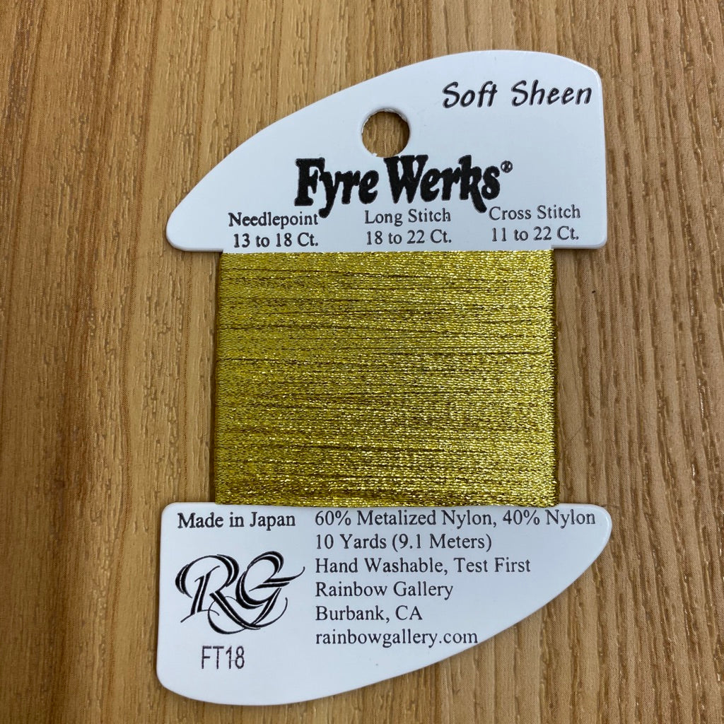 Fyre Werks Soft Sheen FT18 Yellow Gold-Fyre Werks Soft Sheen-KC Needlepoint