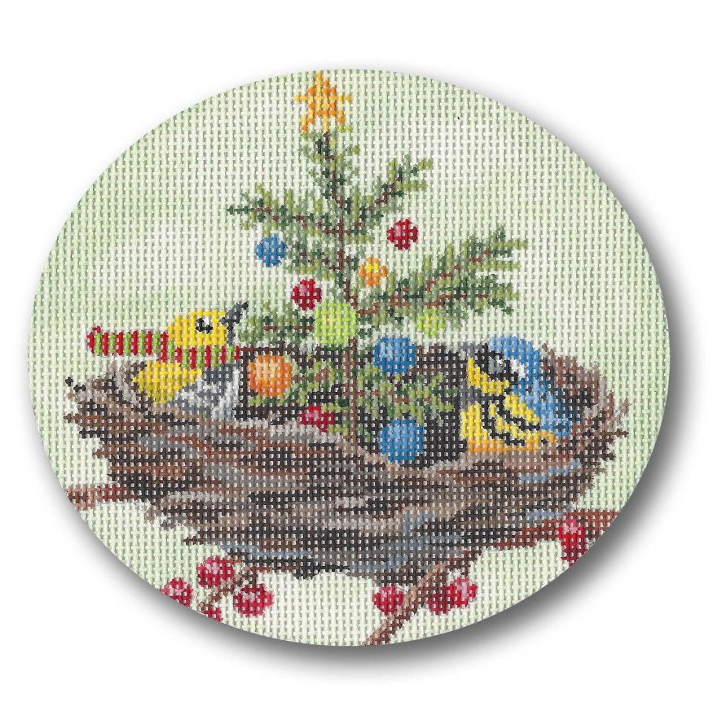 Bird Nest Ornament Canvas-Needlepoint Canvas-CBK Needlepoint-KC Needlepoint