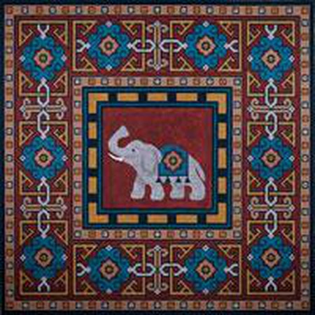 Elephant with Border Needlepoint Canvas-Needlepoint Canvas-JP Needlepoint-KC Needlepoint