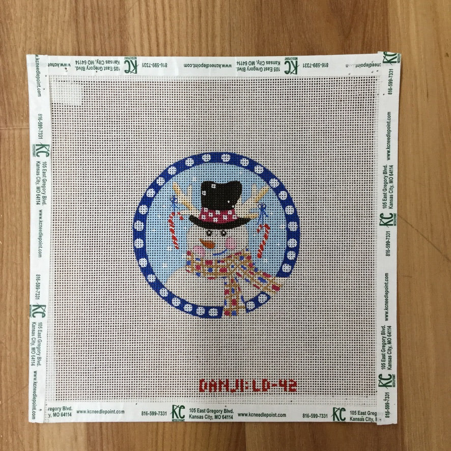 Snowman Round Ornament Canvas - KC Needlepoint