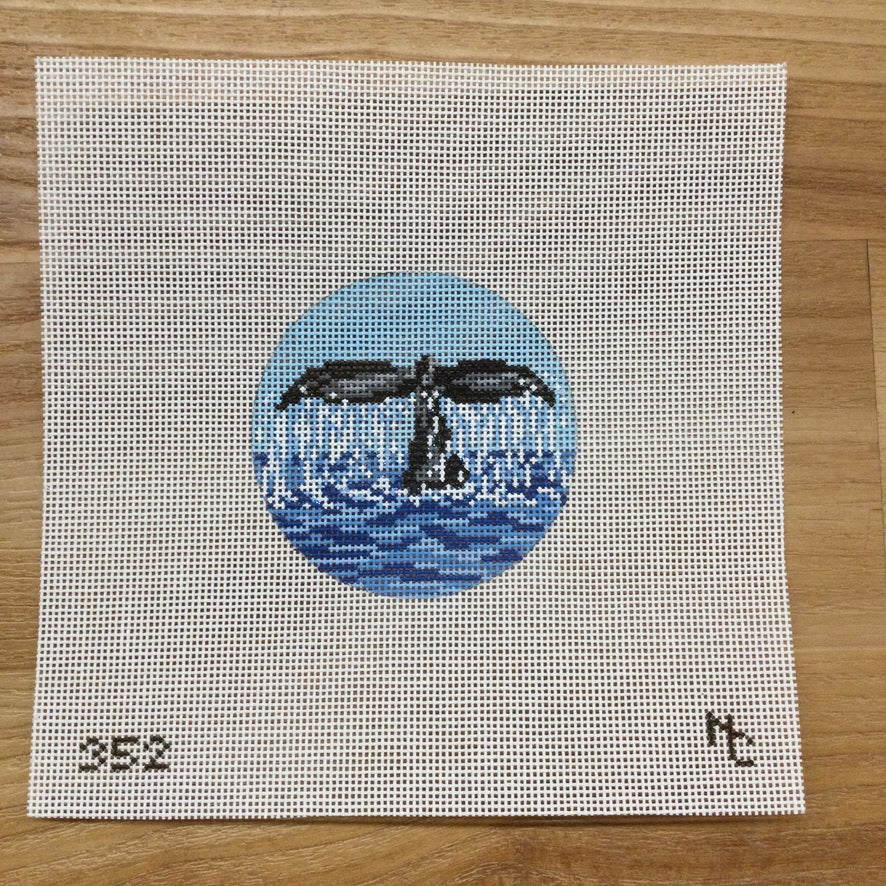 Whale's Tail Round Canvas - needlepoint