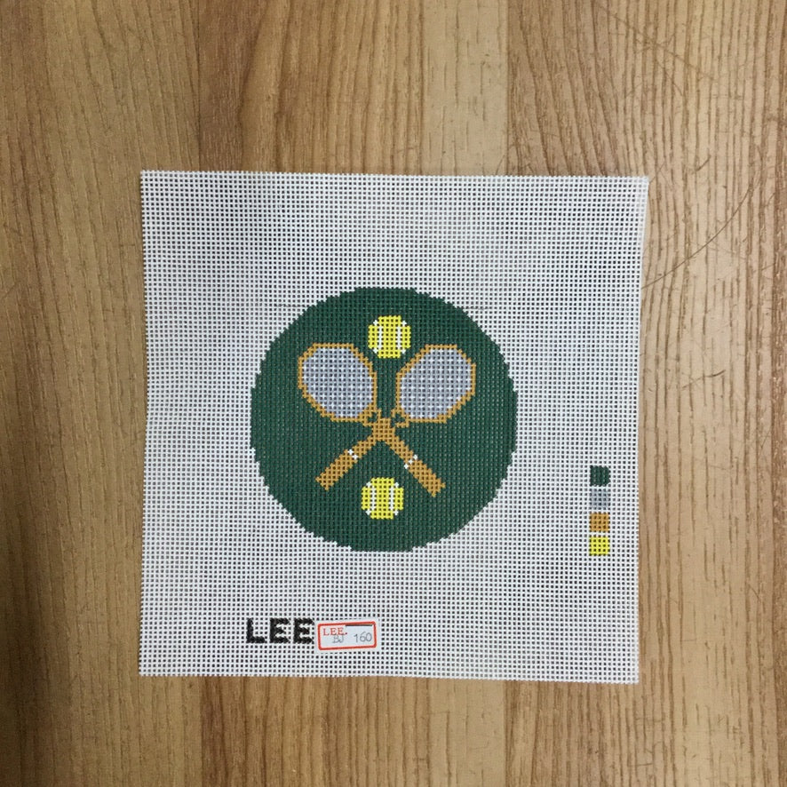"Tennis 3"" Round Canvas - needlepoint"