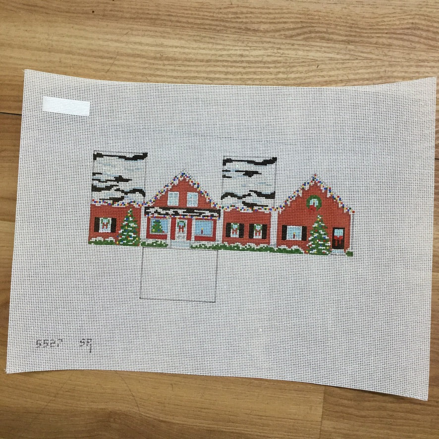Red Christmas House Canvas - needlepoint