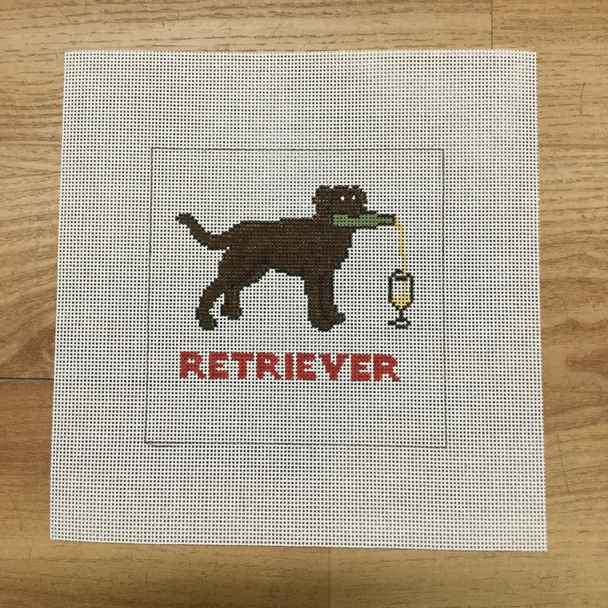 Retriever (White Wine) Square Canvas - needlepoint