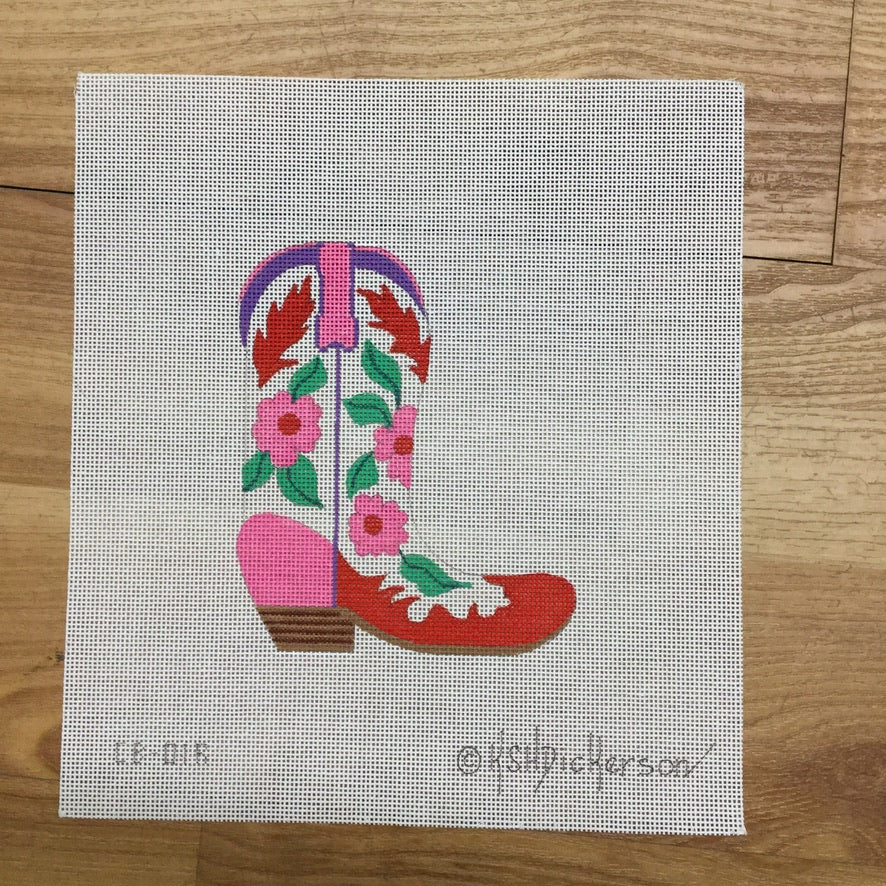 Pink and Red Flowers Cowboy Boot Canvas-Needlepoint Canvas-KC Needlepoint
