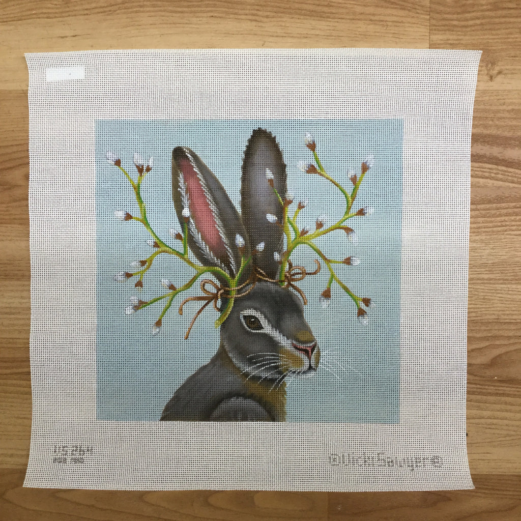 Pussy Willow Hare Needlepoint Canvas - needlepoint