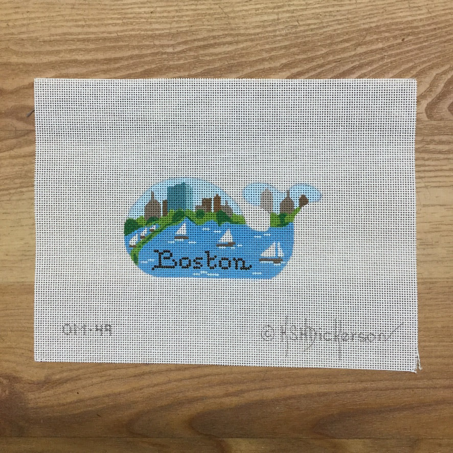 Boston Mini Whale Needlepoint Canvas