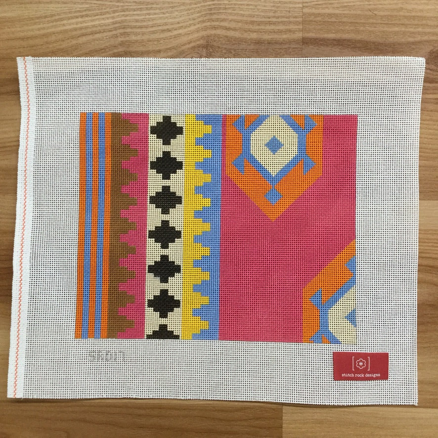 Large Turkish Kilim Clutch Canvas - needlepoint
