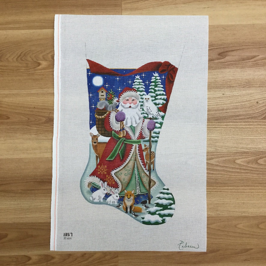 Forest Santa Stocking Canvas - needlepoint