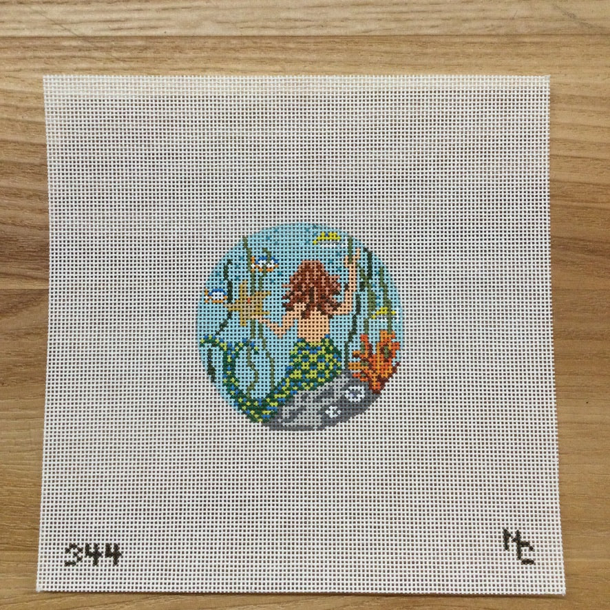 Mermaid Round Canvas - needlepoint