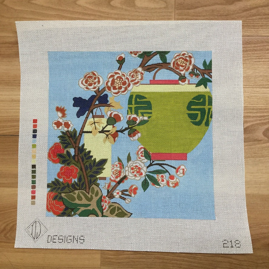 Chinese Lanterns Square Canvas-Needlepoint Canvas-DJ Designs-KC Needlepoint