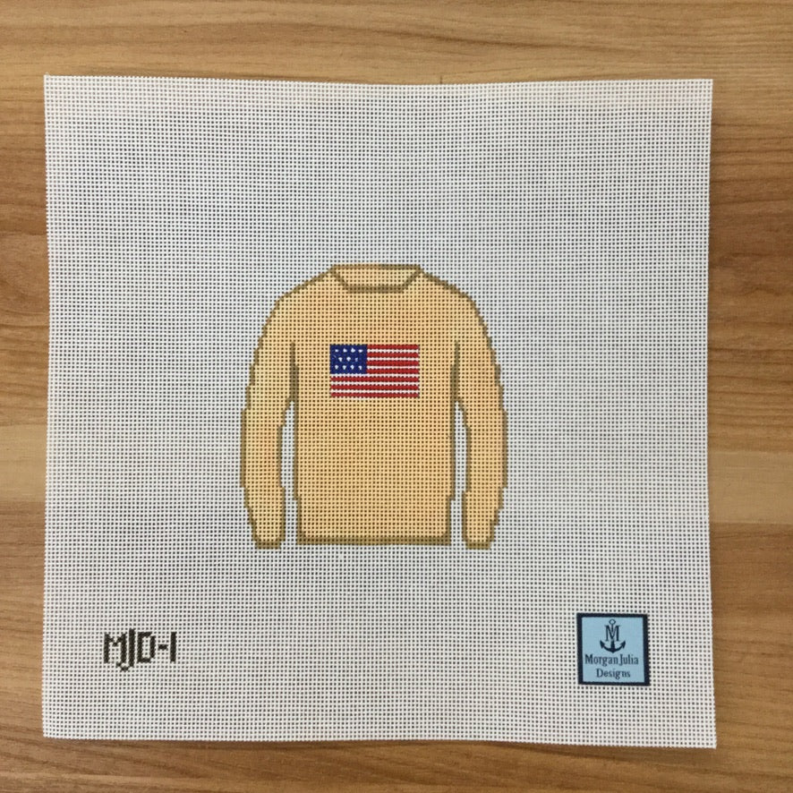 American Flag Sweater Canvas - needlepoint