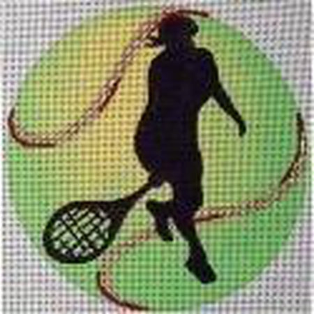 Tennis Player Round Canvas - needlepoint