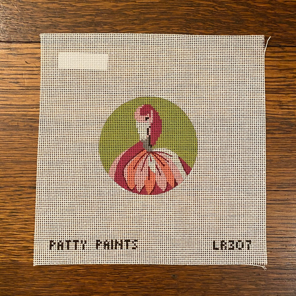 Flamingo Round Canvas - needlepoint