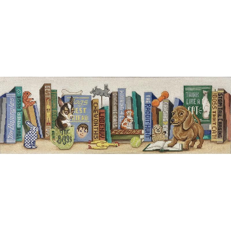 A Dog's Life Bookshelf Canvas-Needlepoint Canvas-Alice Peterson-KC Needlepoint
