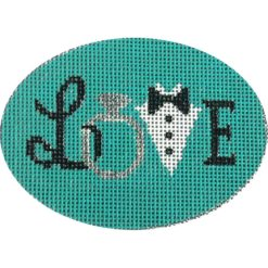 Love Wedding Oval Canvas - KC Needlepoint