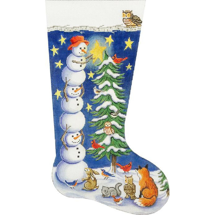 Tree Trimming Snowmen Stocking Canvas - needlepoint