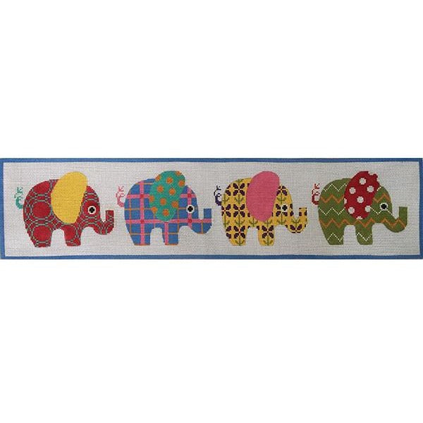 Patterned Elephants-Needlepoint Canvas-Alice Peterson-13 Mesh-KC Needlepoint