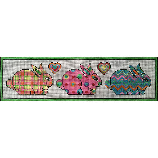 Patterned Bunnies Canvas - KC Needlepoint