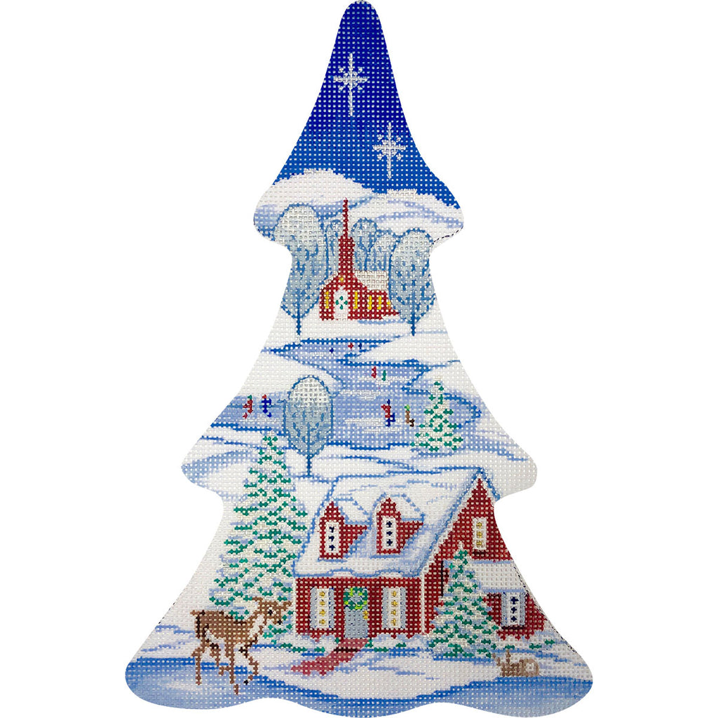 Winter Village Tree Canvas-Needlepoint Canvas-KC Needlepoint