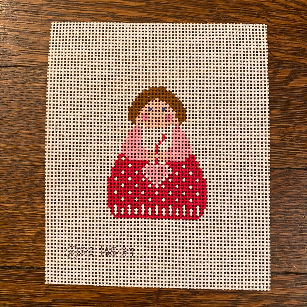 Red Angel with Pink Heart Needlepoint Canvas - needlepoint