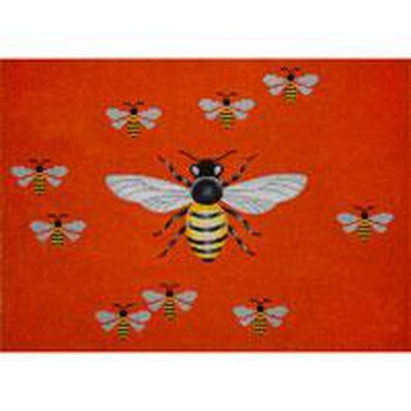 Bees on Orange Needlepoint Canvas - KC Needlepoint