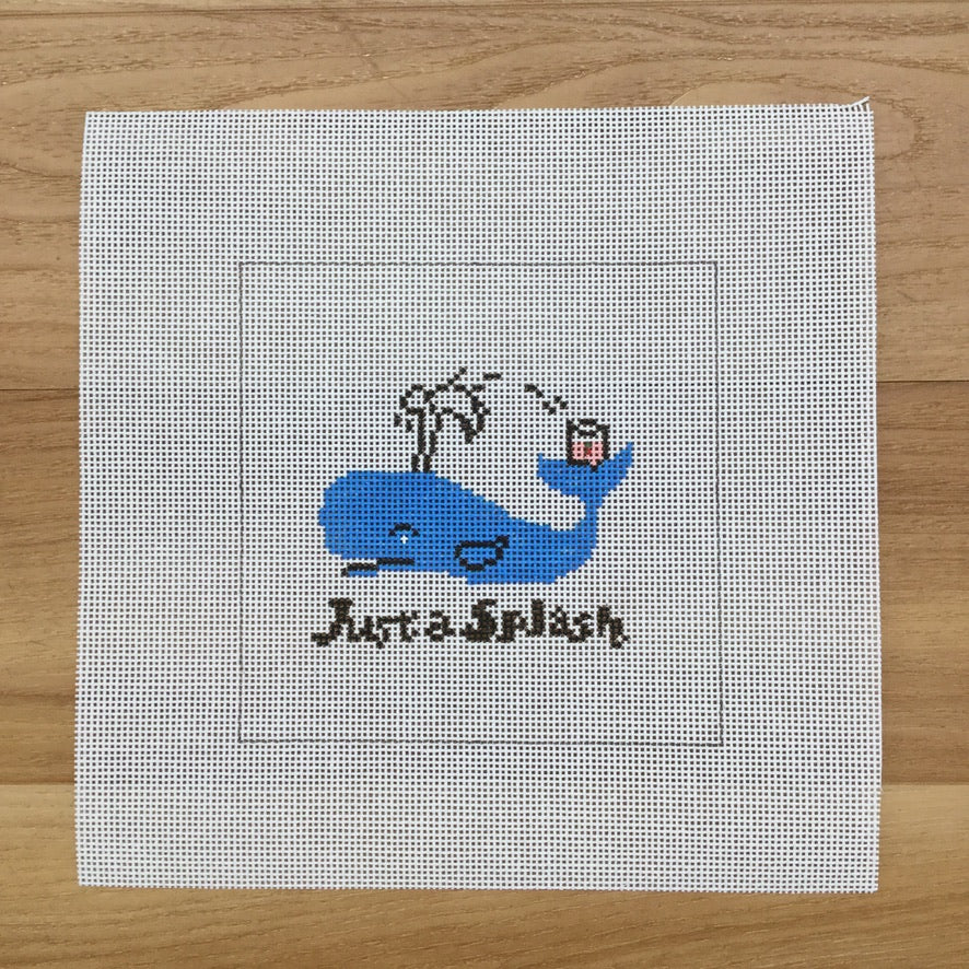 Just a Splash Square Canvas - needlepoint
