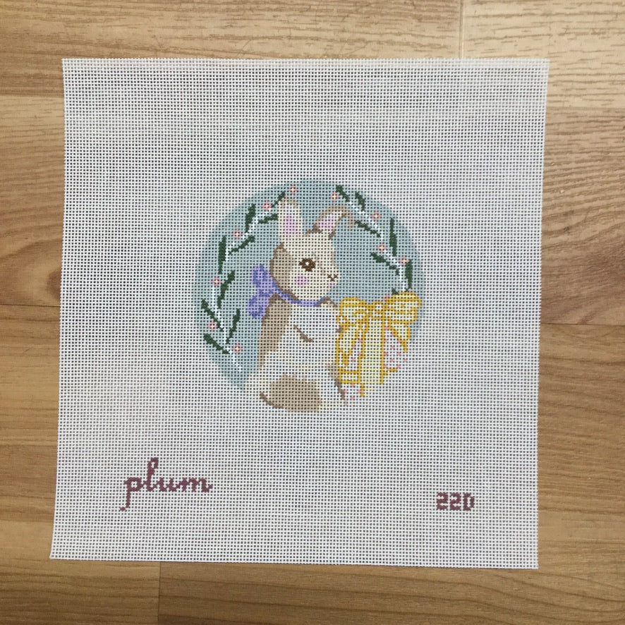 Bunny with Yellow Egg Canvas - needlepoint