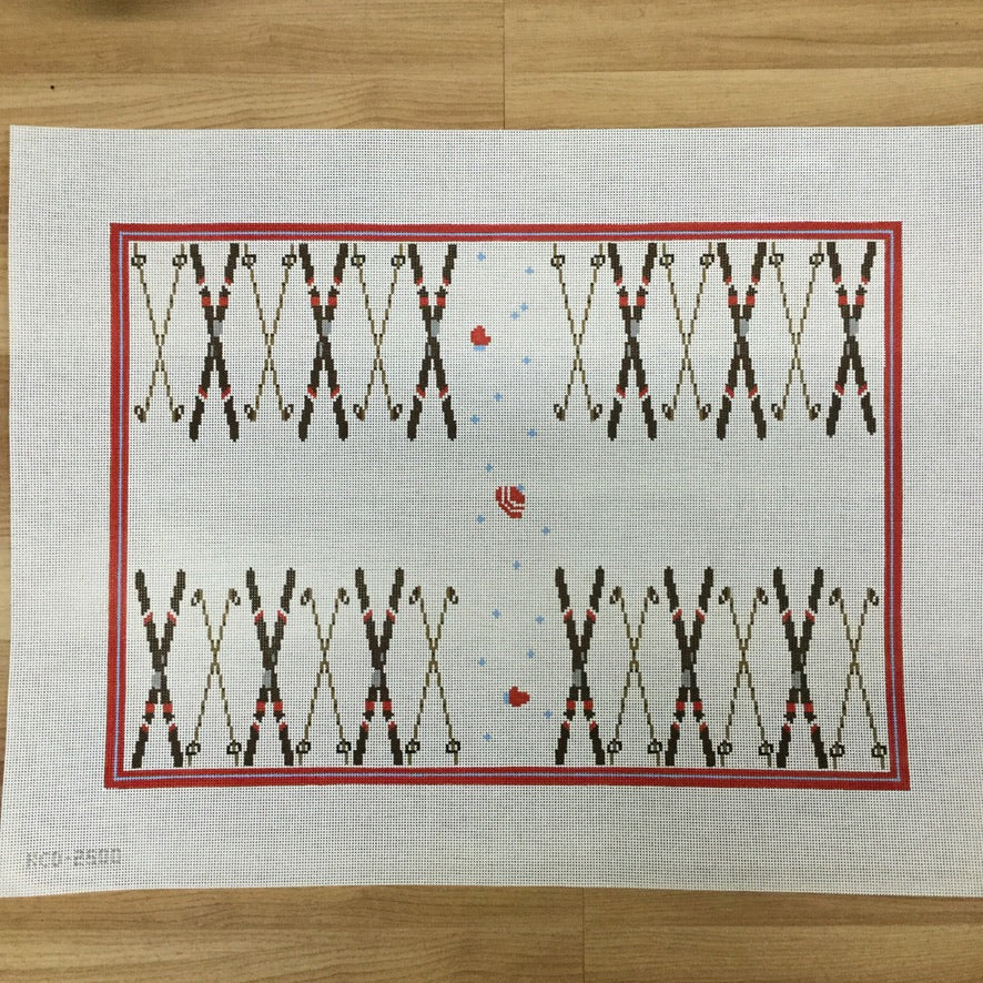 Skiing Backgammon Board Canvas - needlepoint