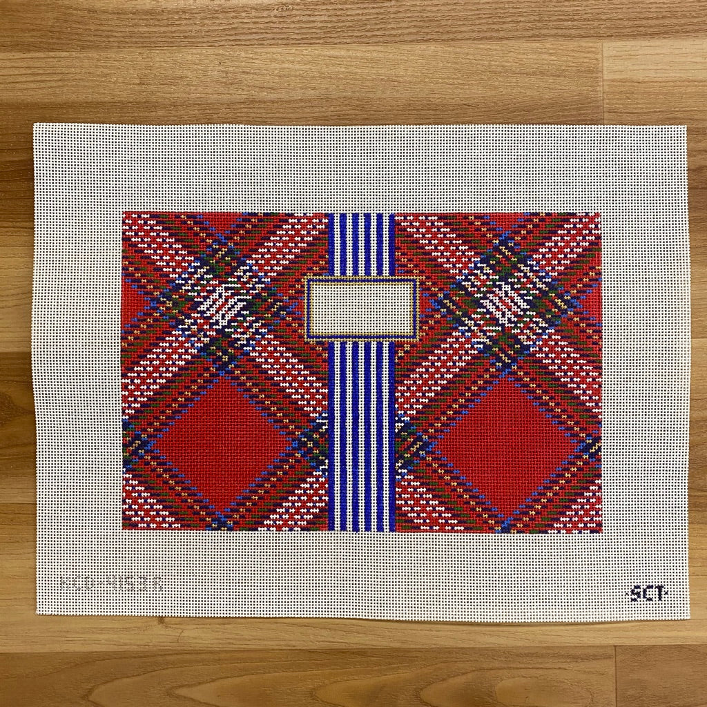 Tartan Plaid Clutch Canvas - needlepoint