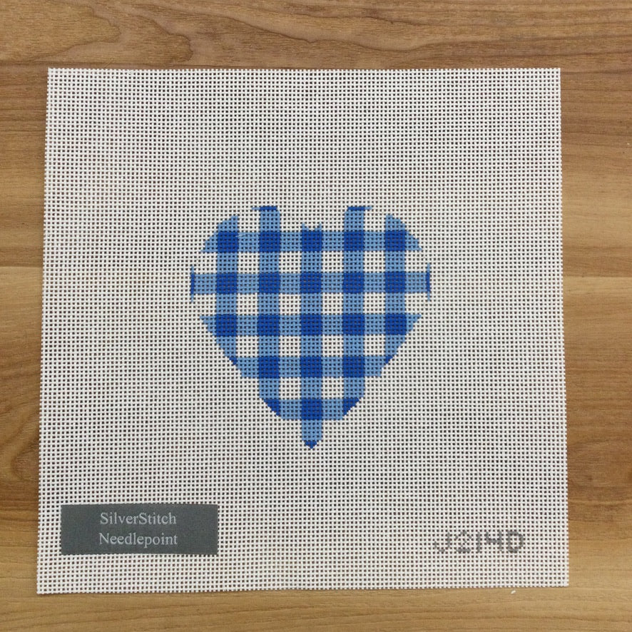 Blue Gingham Heart Canvas