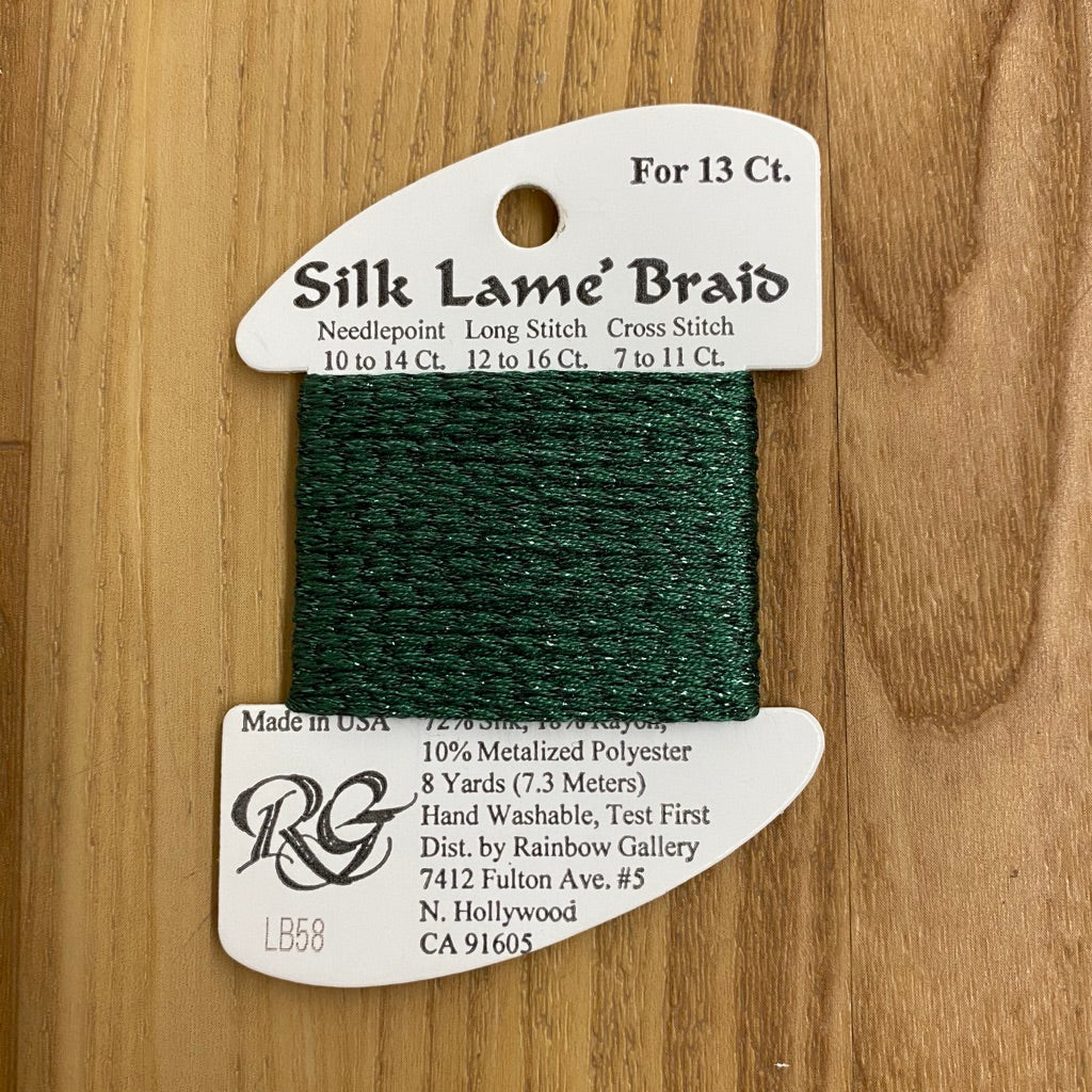 Silk Lamé Braid LB58 Dark Christmas Green-Silk Lamé Braid-KC Needlepoint