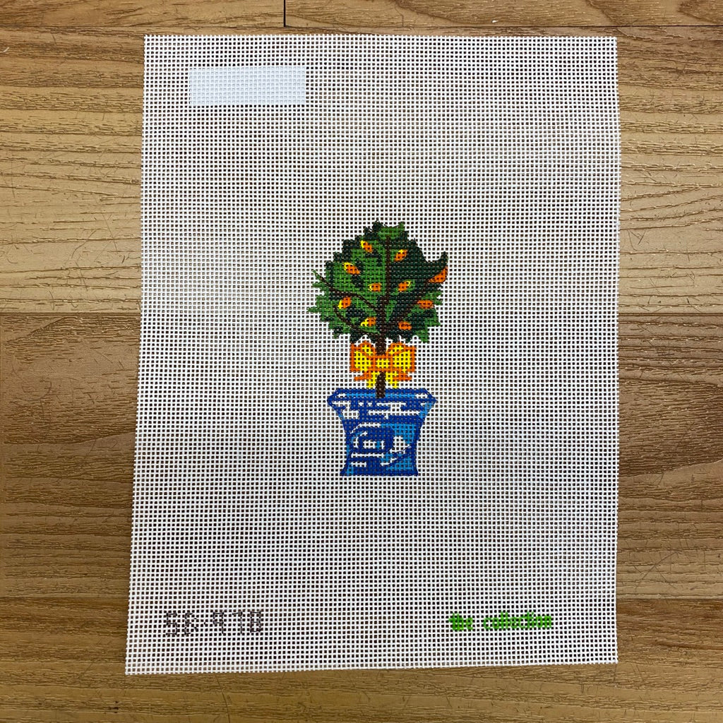 Topiary with Yellow Bow Canvas-Needlepoint Canvas-KC Needlepoint