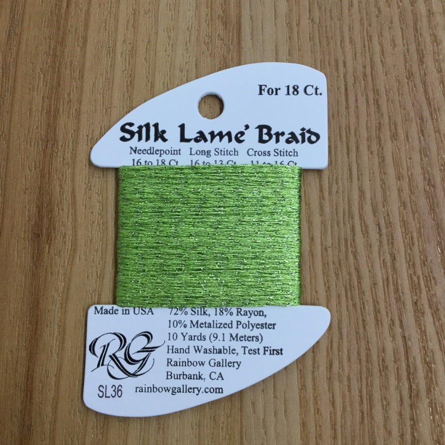Silk Lamé Braid SL36 Chartreuse - needlepoint