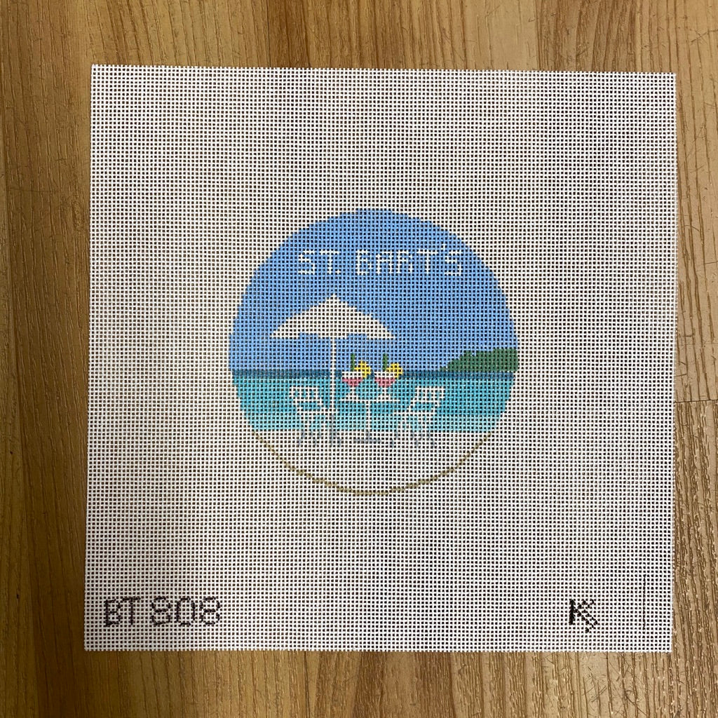St. Bart's Travel Round Canvas-Needlepoint Canvas-KC Needlepoint