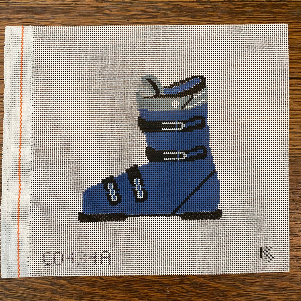 Blue Ski Boot Canvas-Needlepoint Canvas-KC Needlepoint