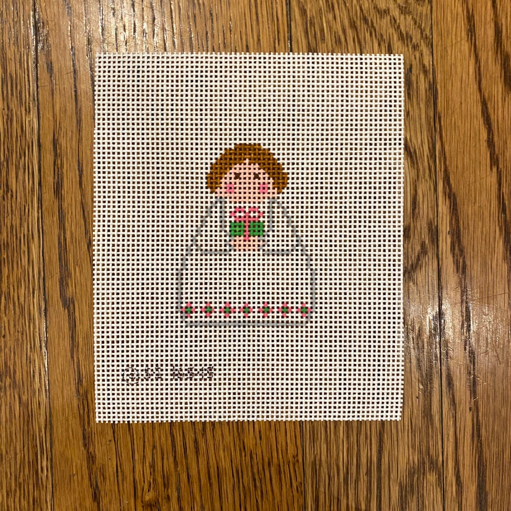 White Angel with Pink and Green Present Canvas - KC Needlepoint