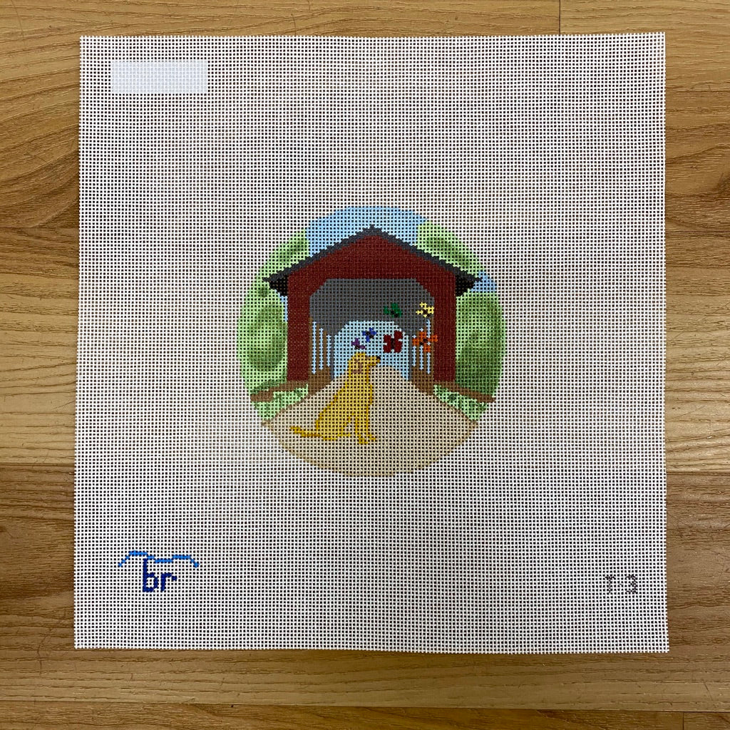 Rainbow Bridge-Yellow Dog Canvas - needlepoint