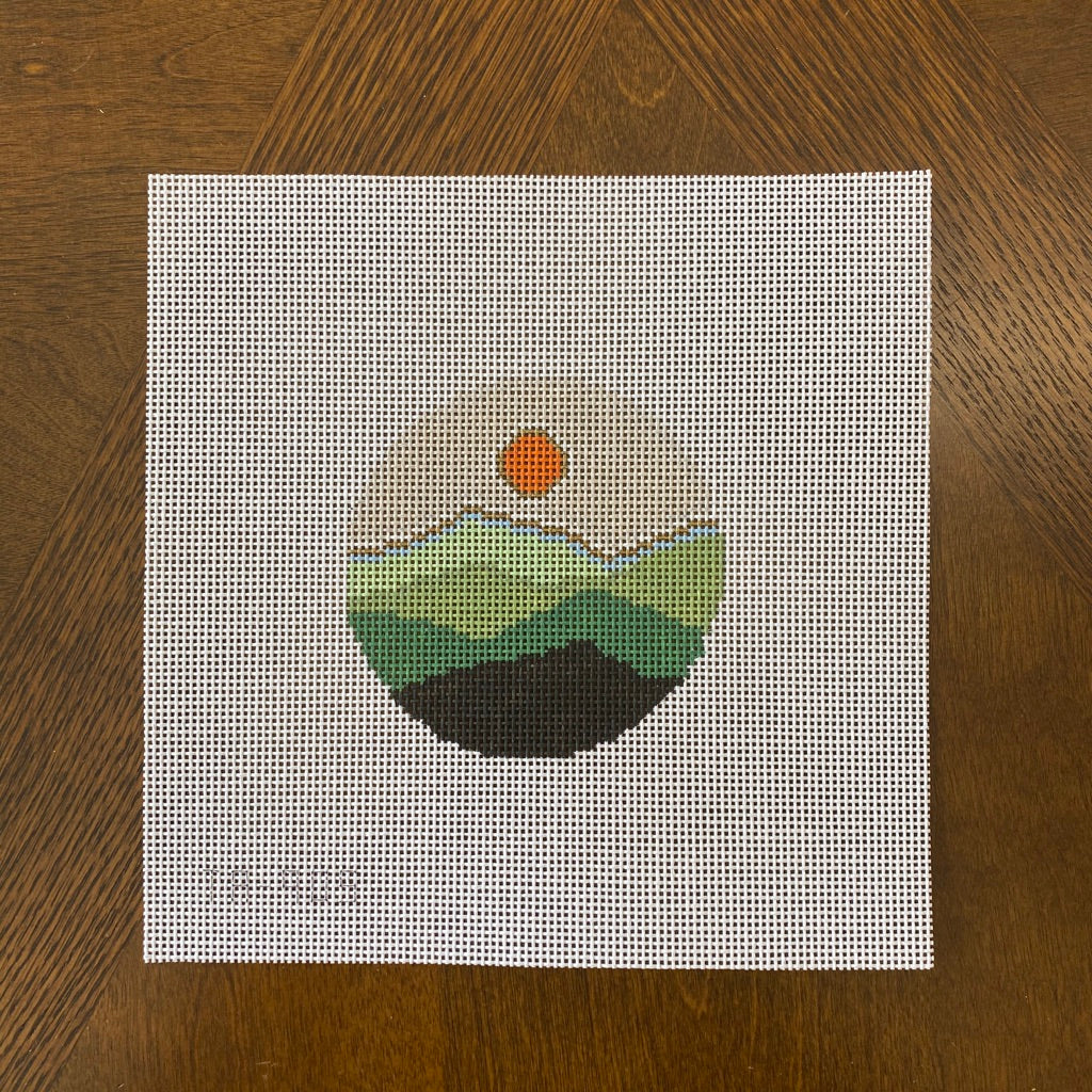 Sunset  Over the Mountains Round Canvas - needlepoint