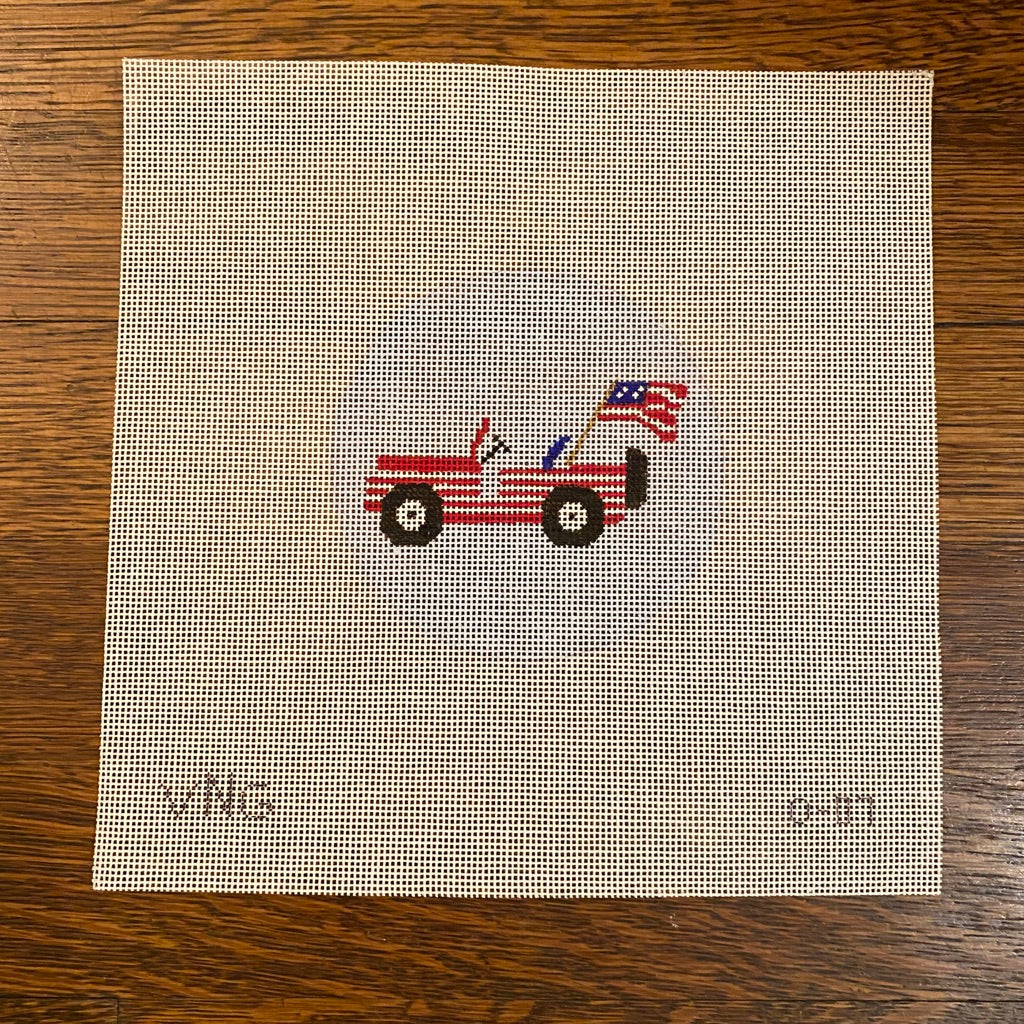 Patriotic Jeep Round Canvas-Needlepoint Canvas-KC Needlepoint