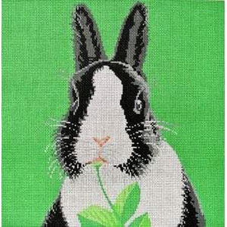 Black & White Bunny Canvas - KC Needlepoint