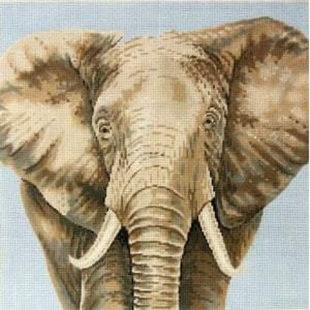 Elephant on Blue Canvas-Needlepoint Canvas-The Meredith Collection-KC Needlepoint