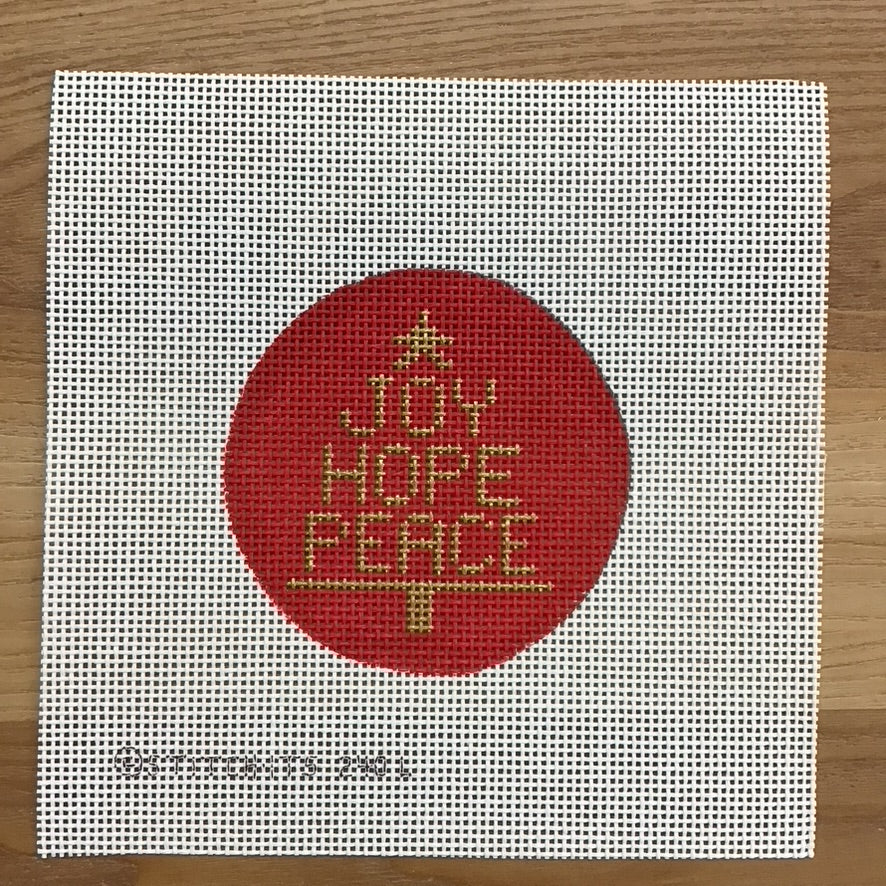 Joy Hope Peace Round Canvas