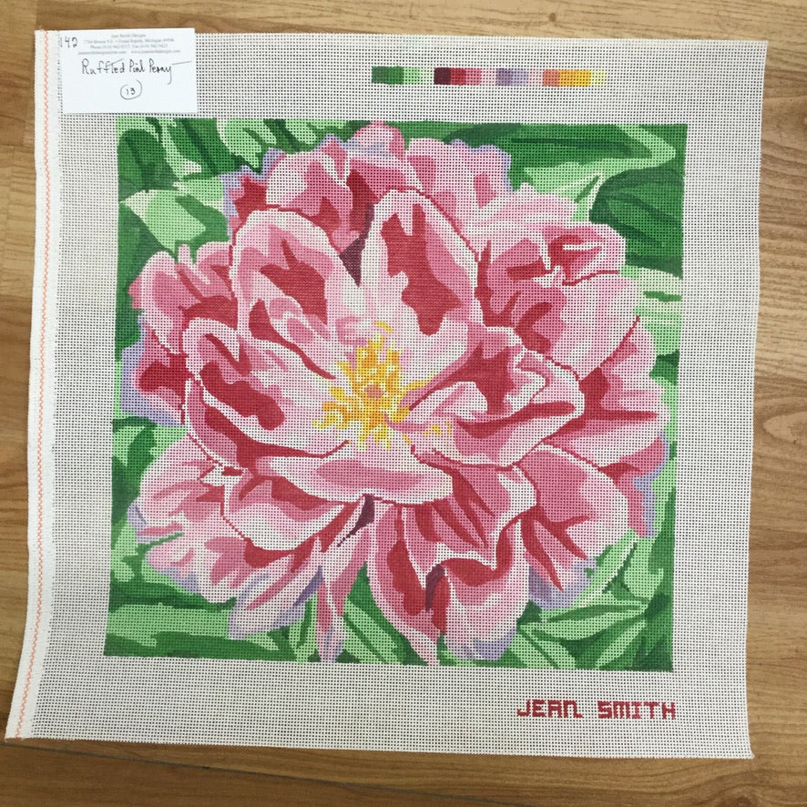 Ruffled Pink Peony Canvas - KC Needlepoint