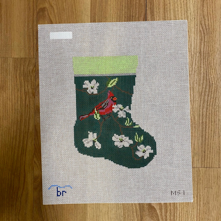 Cardinal and White Dogwood Mini Sock Canvas - needlepoint
