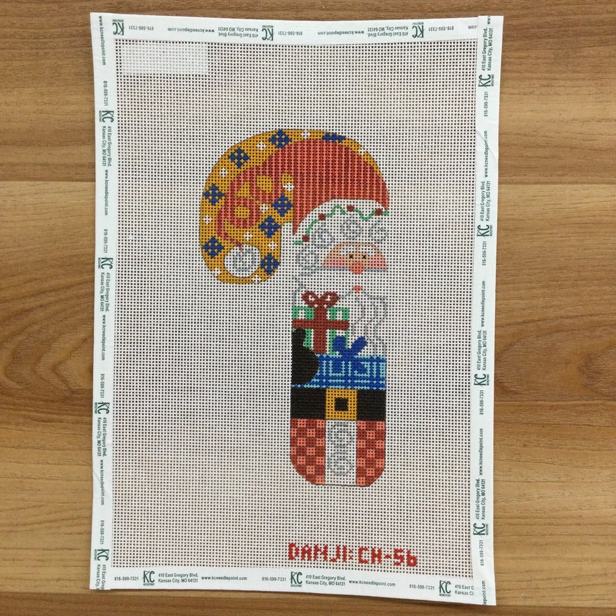 Santa with Present Candy Cane Canvas - KC Needlepoint