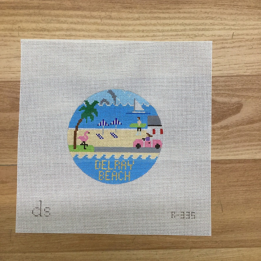 Delray Beach Travel Round Needlepoint Canvas-Needlepoint Canvas-Doolittle Stitchery-KC Needlepoint